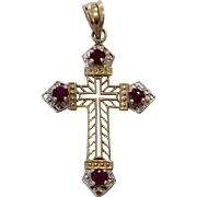 14K Two Tone Cross Pendant with Rubies