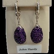 John Hardy Sterling Amethyst Drop Earrings
