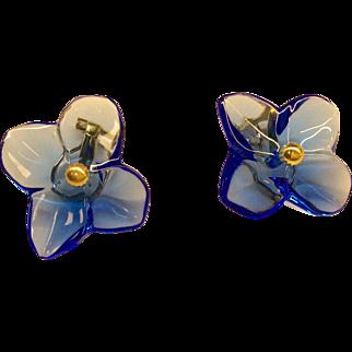 Baccarat 18K Blue Glass Earrings