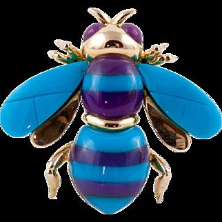 14K Bee Pin Turquoise & Charoite