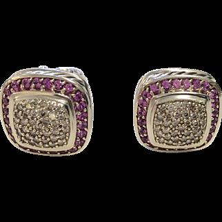 David Yurman Diamond Pink Sapphire Earrings