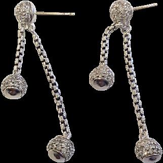 David Yurman Silver Diamond Dangle Earrings