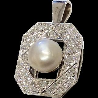 14K Diamond Cultured Pearl Pendant