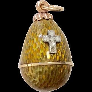 14K Enamel Egg with Cross Pendant