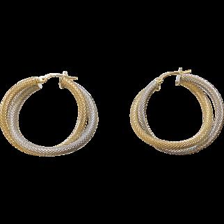 14K Two Tone Hoop Earrings