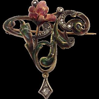 14K Art Nouveau Enamel Pin