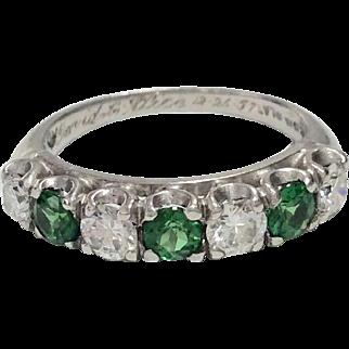 Platinum Tsavorite Garnet Diamond Ring