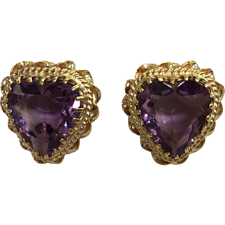14K Amethyst Heart Earrings