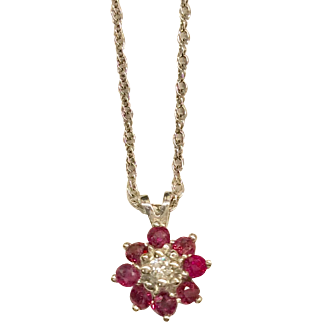 14K Ruby Diamond Pendant Necklace