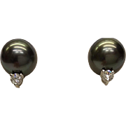 Mikimoto Cultured Pearl Earrings with Diamonds