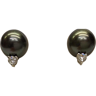 Mikimoto Cultured Pearl Earrings with Diamonds
