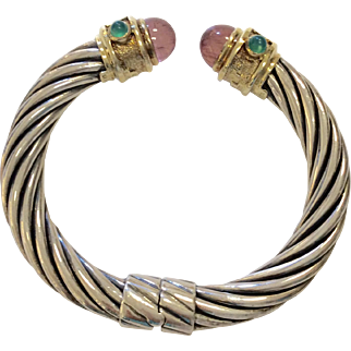 David Yurman Silver 14K Tourmaline Cable Bracelet