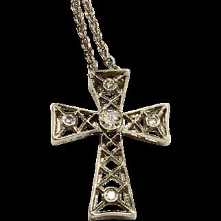 14K WG Diamond Cross Necklace