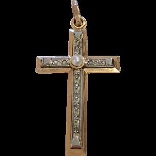 18K French Art Deco Cross Pendant