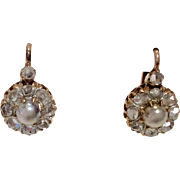 18K Rose Gold Victorian Diamond Earrings