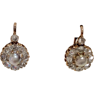 18K Rose Gold Victorian Diamond Earrings