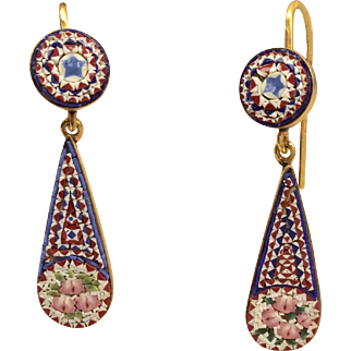 14K Victorian Micro Mosaic Earrings