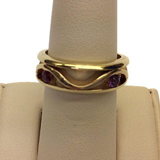 14K Amethyst Ruby Band