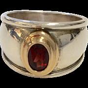 James Avery Sterling Silver & 18K Garnet Ring