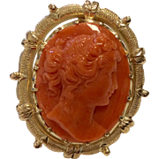 14K Carved Coral Cameo Ring