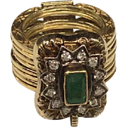 14K Emerald Diamond Convertible Ring/Bracelet