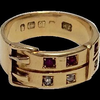 Victorian Diamond Ruby Buckle Ring