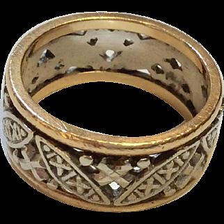14K Retro Openwork Band Ring