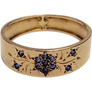 14K Vintage Band with Flowers