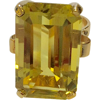14K Retro Lemon Quartz Ring