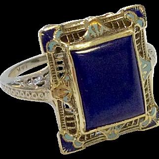 Art Deco Filigree Ring with Enamel