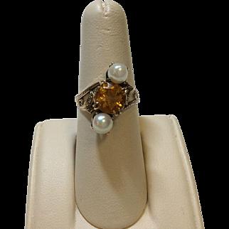 14K Citrine Cultured Pearl Ring
