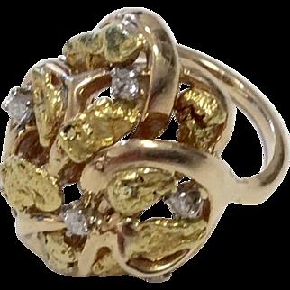 14K/24K Yellow Gold Nugget Diamond Ring