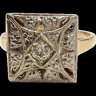 14K Two Tone Gold Diamond Ring