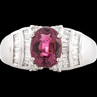 18K Pink Tourmaline Diamond Ring