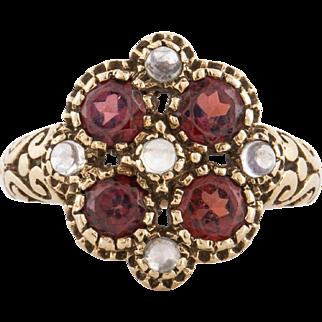 14K Moonstone Garnet Ring