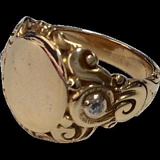 14K Signet Ring with Diamonds