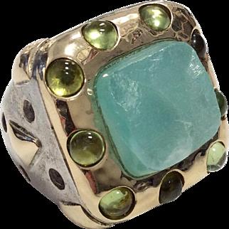 Dian Malouf Huge Silver Ring