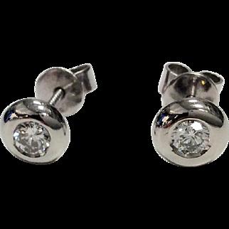 Platinum Bezel Set Diamond Stud Earrings