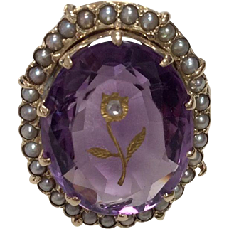 14K Amethyst Ring with Inset Rosecut Diamond