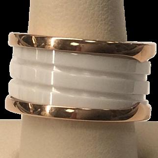 Bulgari White Ceramic Band Ring