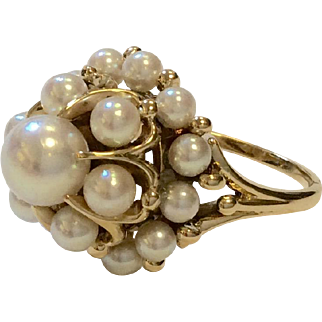 14K Cultured Akoya Pearl Cluster Ring