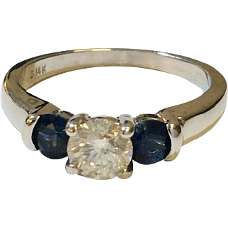 14K Diamond Sapphire Three Stone Ring