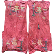 A Pair of Chinese Silk Chair Covers