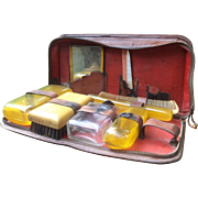Vanity Kit for a Woman in a Leather Case