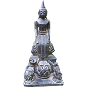 Resin Statue of the Parable of Buddha, the Elephant and the Monkey