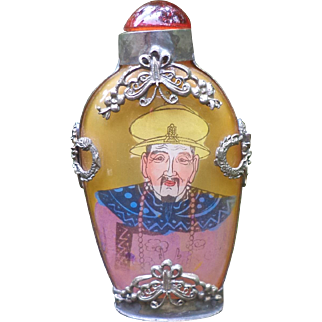 An Inside Painted Glass Chinese Snuff Bottle With Silver Metal Mount