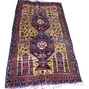 Baluchi Pictorial Carpet With Urns and Mosques