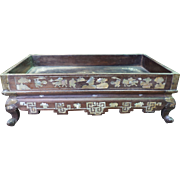 Provincial Chinese Rectangular Hardwood Table Stand on Bracket Feet