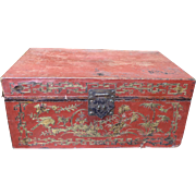Vietnamese-Chinese Parcel Gilt Tooled Red Leather Trunk