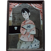 Reverse Glass Painting of a Chinese Lady